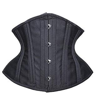 SHAPERX Women Short Torso Curvy Waist Heavy Duty Double Steel Boned Underbust Waist Trainer Corsets SZ70930-Black-XS