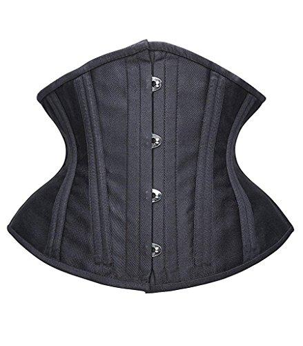 SHAPERX Women Short Torso Curvy Waist Heavy Duty Double Steel Boned Underbust Waist Trainer Corsets, SZ70930-Black-L