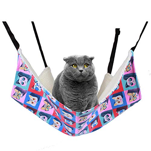Large Hanging Cat Hammock Bed for Cage or Chair | Pet Hammock with Adjustable Strap | Reversible 2 Sides Soft Pet Bed for Kitten, Ferret, Bunny, Rabbit, Rat or Other Small Pet (22.818.5in) (A Style)