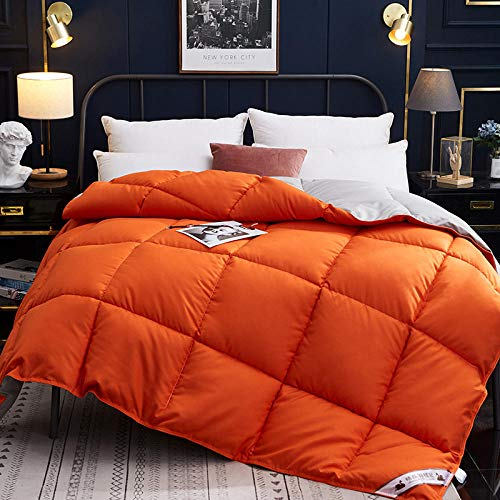 Winter Duvets Double Goose Feather and Down Duvet 100% Cotton Shell Anti-dust mite & Feather-proof Fabric, All Season- Classic -Anti-allergy-Cooling-Duvet Quilt-orange gray_150x200cm-4000g