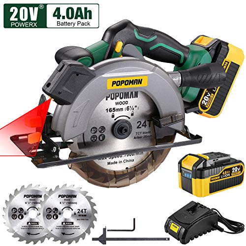 POPOMAN Cordless Circular Saw, 4300 RPM, 20V 4.0Ah Battery, Fast Charger, 2...