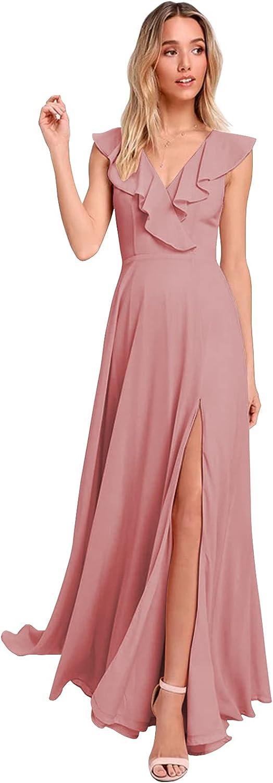BONOYUER Women's Ruffle Chiffon Bridesmaid Dresses A-line V Neck Backless Long Formal Evening Prom Dress with Slit