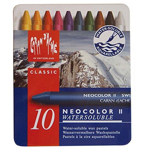 Cornici Paglia Caran d'Ache Neocolor II 10 pastelli - PASTELLI A Cera, Scatola in Metallo, 10 Pezzi