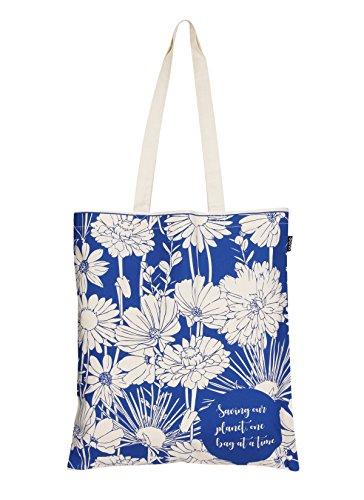 EONO tote bag tela Eco-Friendly bolsa de algodon bolso de tela mujer de ultramarinos de bolso de reutilizable linda bolsas para niñas - Impreso Flores - (naturales) | 0101A05