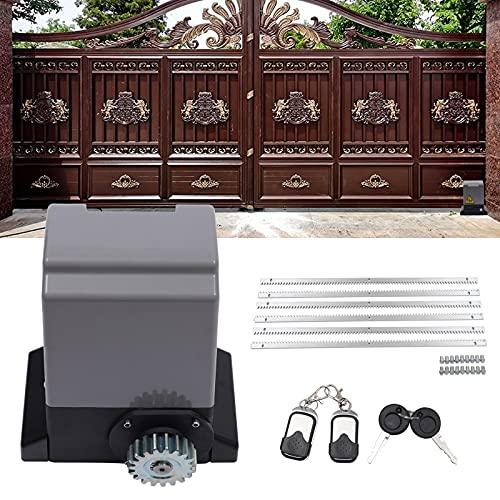 Accionamiento eléctrico de puerta corredera 600 kg, resistente al agua, automático, con 2 mandos a distancia, 370 W para puerta corredera