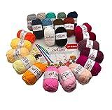 LovLim Crochet Yarn kit, 24 Soft Cotton Yarn skeins for Crochet and Knitting,1500+ Yards Craft DK Yarn, Free Crochet/Amigurumi Patterns, Perfect Starter kit