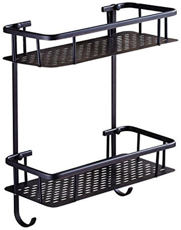 Accessories Bathroom Black Square Double Brass Hook Double Belt Dark Bronze Shopping Cart Rack Council