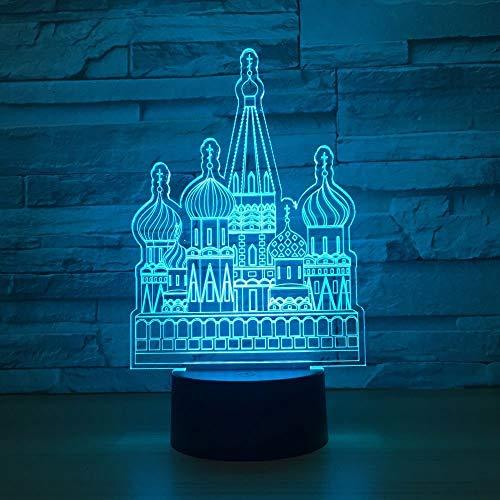 Castle Building Luz de noche 3D para niños, niñas, regalo, lámpara de ilusión 3D para dormitorio al lado de la mesa, lámpara de mesa de escritorio con 16 colores cambiantes, regalo para niños