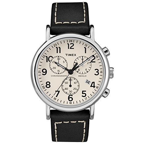 Timex Men's TW2R42800 Weekender Chrono Black/Cream Two-Piece Leather Strap Watch