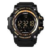 Simshew Rastreador de Ejercicios EX16 Bluetooth Deportes al Aire Libre Reloj Inteligente Reloj de Pulsera Hidrófugo Podómetro Monitorización de la frecuencia cardíaca y del Sue (Color : Gold)