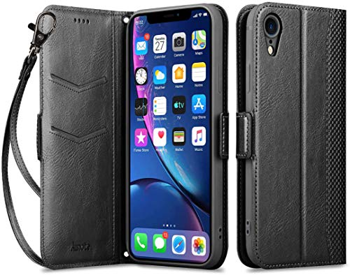 "Aunote iPhone XR Wallet Case with Card Holder, iPhone XR PU Leather Case, Folio Folding Flip iPhonexrcases with Wrist, Slim Protective Case with Kickstand Compatible for iPhone XR 6.1"" - Black"
