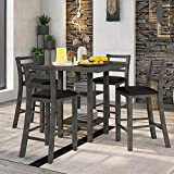 P PURLOVE 5 Piece Dining Table Set Square Dining Room Table and 4 Padded Chairs Retro Style Wood Kitchen Table Set with 2-Tier Storage Shelves for 4 Persons, Gray and Black