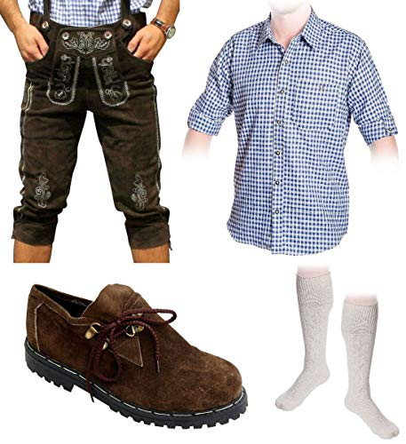Herren Trachten Set A 5-teilig Trachten Lederhose Dunkelbraun 46-60 Trachtenhemd Schuhe Socken (Wählbar Hose 46-60 Hemd S-XXXL Schuhe/Socken 41-46)