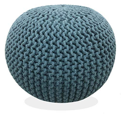 Fernish Décor Hand Knitted Cotton Ottoman Pouf Footrest 20x20x14 INCH, Living Room Accent seat (Teal Blue)