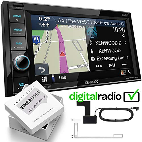 Kenwood DNR4190DABS 2 DIN DAB navigatie mediaplayer incl. antenne geschikt voor Seat Ibiza IV, inkl Canbus, dublingrey