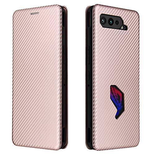 Funda para Asus ROG Phone 5,Caja del teléfono de fibra de carbono, Asus ROG Phone 5 con función de soporte Case, el estuche con tapa magnética estuche para Compatible para Asus ROG Phone 5-Rosa roja