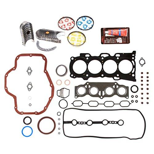 Evergreen Engine Rering Kit FSBRR2040EVE Compatible With 01-05 Toyota Highlander Rav4 Solara 2.4 2AZFE Full Gasket Set, Standard Size Main Rod Bearings, Standard Size Piston Rings