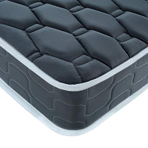 BedStory Mattress, Single Bedding Mattress, 6 Inch Sleeping Sprung Mattress with Skin-Friendly and Breathable Fabric, Fire Resistant and Stain Resistant Mattress, Grey