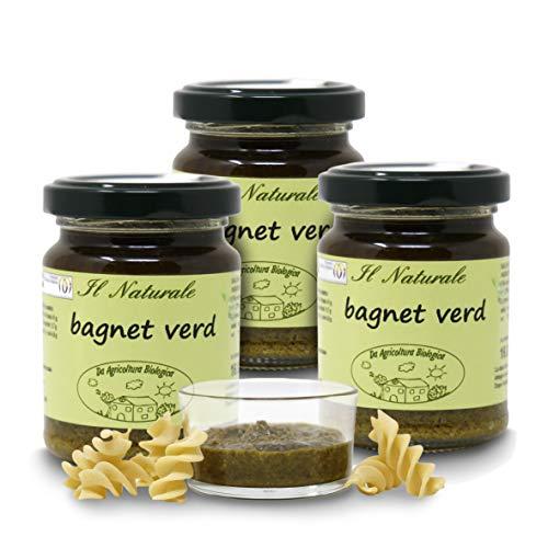 Carioni Food & Health Salsa Verde piemontese bio, Bagnetto Verde o bagnet Vert, per bollito, Carne, Formaggi, 120g (Confezione da 3 Pezzi)