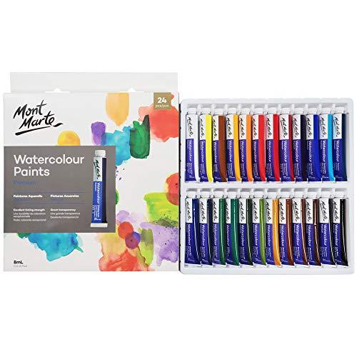 Mont Marte Watercolor Paint Set 24 Colours 8ml, Aluminium Watercolor Tube Set, Perfect for Paper