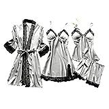 Lazzboy Dessous Frauen Silk Lace Babydoll Nachtwäsche Nachthemd Pyjamas Set Kimono Damen Morgenmantel Satin Bademantel Seide Roben V Ausschnitt Mit Blumenspitze(Grau,XL)