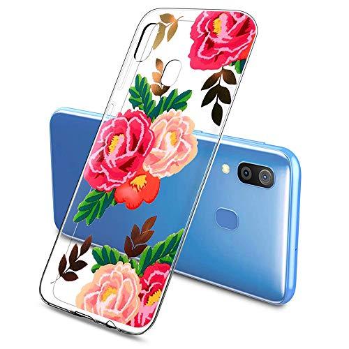 Oihxse Funda Compatible con Samsung Galaxy S6 Edge Plus, Carcasa Transparente Silicona TPU Suave Protector de Golpes Ultra-Delgado Cristal Cover Anti-Choque Anti-Arañazos Bumper-Hojas 2