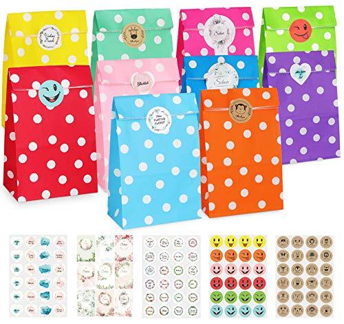 Adorfine 60 Stück Papiertüten Bunte Geschenktüten mit 105 Aufkleber 24x 13cm Klein Süßigkeiten Candy Tüten für Verpacken von Geschenken Kindergeburtstag Hochzeit Geburtstag (Wellenpunkte)