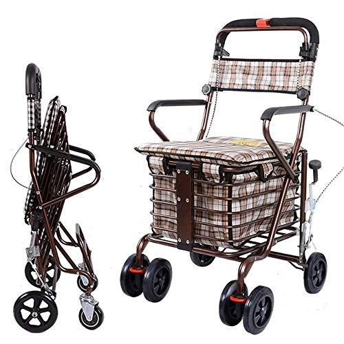 XBSXP Tragbare Faltbare Einkaufswagen für ältere Menschen, Faltbarer Einkaufswagen, große Kapazität, in Grau, für Jung und Alt, B.