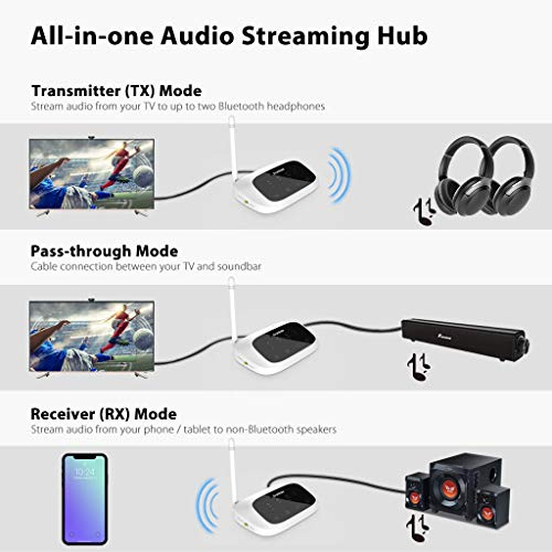 Avantree Long Range Bluetooth Transmitter Receiver for TV & PC, Wireless Audio Adapter Extender for Home Stereo Speakers, aptX Low Latency, Dual Link, Voice Guide, Digital Optical AUX RCA - Oasis