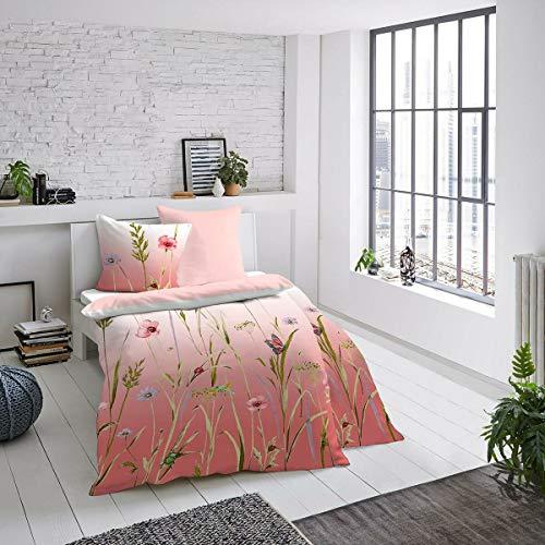 Dormisette Mako-Satin Bettwäsche Blumenwiese Koralle 1 Bettbezug 135x200 cm + 1 Kissenbezug 80x80 cm