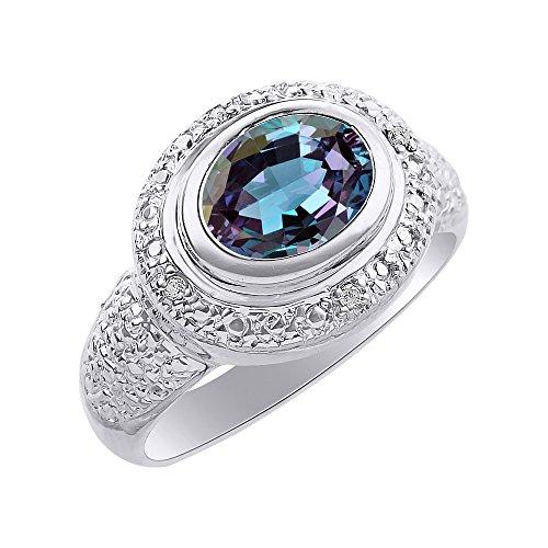 Anillo de plata de ley con diamantes de imitación de Alexandrita y diamantes – anillo de piedra de nacimiento de color