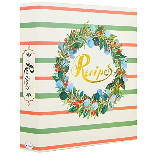 COFICE Recipe Binder – 8x9 Recipe Organizer Binder with Plastic Page Protectors and Tabbed Dividers, Garland Design (Garland)
