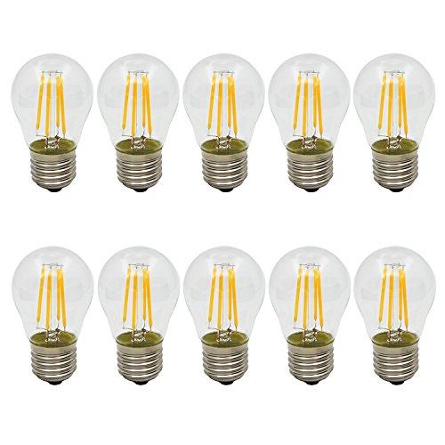 10 Stück LED Lampe Birne E27 G45 4W 300LM Fadenlampe Glühbirne Filament Glühfaden, Warmweiß 2700K, Nicht Dimmbar, Ersatz für 30W Glühlampen, AC220-240V
