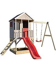 Wendi Toys M9 | Casa de Madera para Jardin | Casa niños con tobogan de plastico y Columpios | Juegos de para Exteriores | Parque Infantil Jardín | Jugar Aire Libre Diversión | 3-7 años