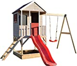 Wendi Toys Kinder Garten Spielhaus | Spielturm mit Rutsche und Schaukel | Rot Stelzenhaus für...