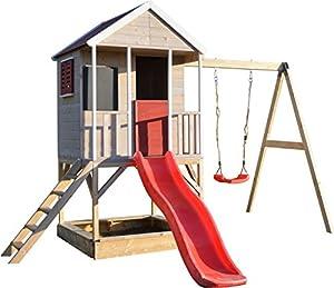 immagine di Wendi Toys M9 Summer Adventure House & Piattaforma e Scivolo   Casetta da Gioco per Bambini in Legno su Una Piattaforma di 90 cm con altalene, casa in Legno, Giardino, casetta da Gioco con Veranda