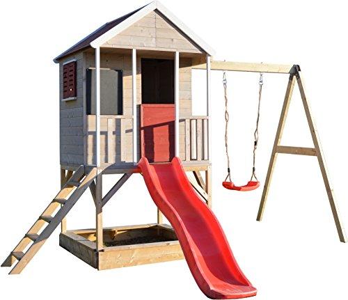 Wendi Toys Kinder Garten Spielhaus | Spielturm mit Rutsche und Schaukel | Rot Stelzenhaus für Jungen und Mädchen 3-7 Jahre | Umweltfreundliches Holzhaus Draussen | Gartenhaus Holz