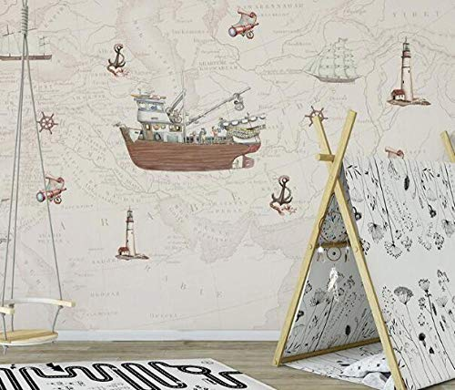3D vliesbehang fotobehang abstract origineel 3D cartoon nautical wallpaper muurschildering voor babykamer kleuterschool 3D cartoon muurschildering 350*245 350 x 245 cm.