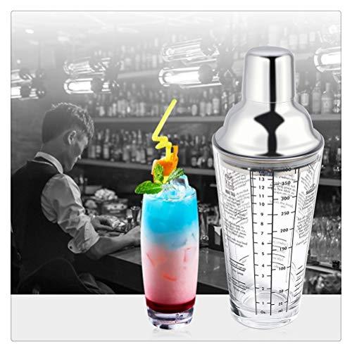 Aiglen Coctelera de cóctel con Escala de Vidrio de Barra de 400 ML, coctelera Transparente, coctelera, Vaso, Jugo, Botella, Mezclador, Herramientas para Fiestas, barware