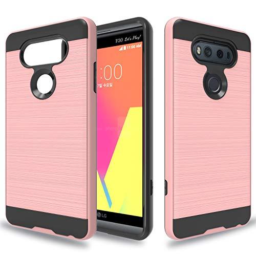 Wtiaw Compatible with LG V20 Case,LG V20 Phone Case,LG VS995/LG H990/LG LS997/LG H910 Case,[Brushed Metal Texture] Hybrid Dual Layer Defender Case for LG V20-CL Rose Gold