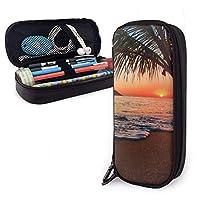 ペンケース 筆箱 パシフィックサンライズビーチ 大容量 軽量 多機能 PUレザー 鉛筆 文具ケース 収納ポーチ 文房具 中学生 高校生
