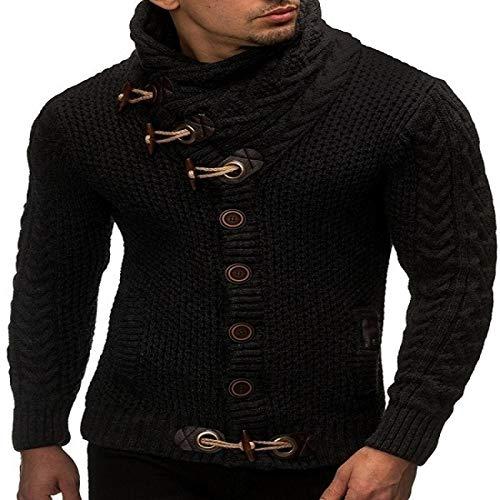 Suéter de Cuello Alto para Hombre, Prendas de Punto con Botones, Hebilla de Cuero, Decorado, Ajustado, cálido, de Moda, Informal, de Manga Larga, suéter