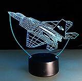 Lumière De Nuit 3D Avion 3D Night Light Guerre Avion De Chasse Lampe De Table Lampe Jet Multicolore Avion Avec Usb Power Décoration Cadeau