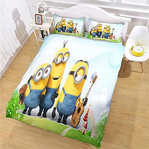 Bettbezug 1/2 Person Wald-Minions Bettwäsche 3D Bedruckt und Kissenbezug, 135x200cm Mikrofaser Bettwäsche-Set für Erwachsene und Kinder, Komfort und Wärme