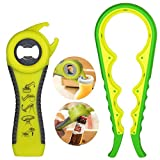 Maxracy Premium All-in-one Bottle Can Lid Twist Gripper Ideal for Seniors Arthritis Suffers and Weak Hands with Free Jar Opener (5-in-1 Green and 4-in-1 Yellow)