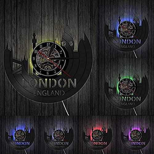 TeenieArt Londres Reloj de Pared de Vinilo para decoración de Home Reloj de Pared, Ideas de Regalo para niños y Adolescentes, Moderno Reloj de Cuarzo Digital Creativo de 12inch