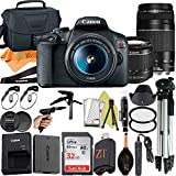 Canon EOS Rebel T7 DSLR Camera 24.1MP Sensor with EF-S 18-55mm & EF 75-300mm Dual Lens, SanDisk 32GB Memory Card, Case, Tripod and ZeeTech Accessory (Black, 23pcs Bundle)