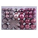 YILEEY Weihnachtskugeln Weihnachtsdeko Set Rosa 101 STK in 9 Farben, Kunststoff Weihnachtsbaumkugeln Box mit Aufhänger Christbaumkugeln Plastik Bruchsicher, Weihnachtsbaumschmuck, MEHRWEG