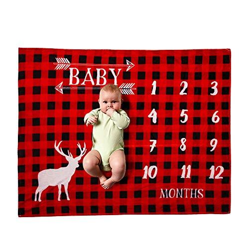 FZ FUTURE Nouveau née Couverture de Props de Photographie, Baby Props imprimé Coton Mensuel Milestone Wrap Swaddle Couvertures, Cadeau de Shower de bébé,C