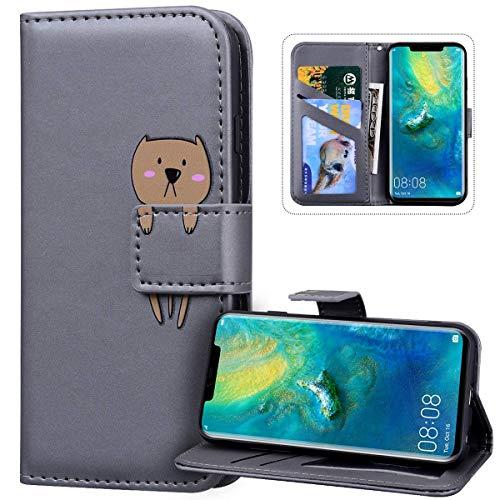 JAWSEU Leuke Animal Design PU Lederen Flip Case Compatibel met iPhone 11 Pro Max Beer